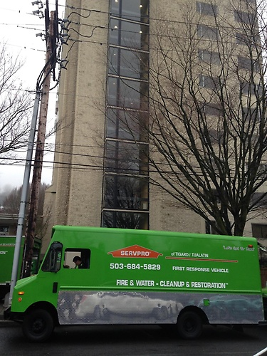 SERVPRO of Tigard/Tualatin on site at a local dorm or residence hall that had a fire from a microwave that caused the sprinklers to go off and affect several floors.
