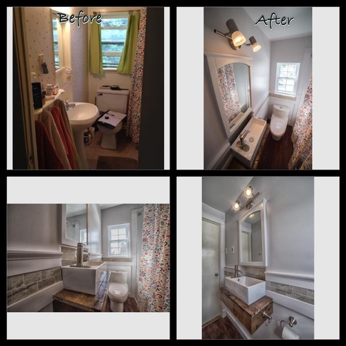 Before and after of custom bathroom reno