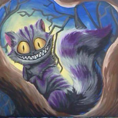 """""""Chesire Cat"""" Alice in Wonderland acrylic painting on canvas 16x20"""""""