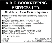 A.R.E. Bookkeeping Services Ltd.