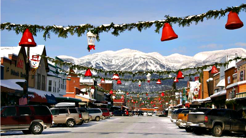 View of downtown Whitefish in winter