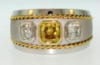 Mans Fancy Yellow Diamond Ring- Villarreal Fine Jewelers, 7600 Burnet Road Austin, TX 78757