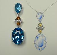 Blue Topaz & Diamond Pendant- Villarreal, Designers of Exquisite Jewelry, 7600 Burnet Road Austin,TX 78757