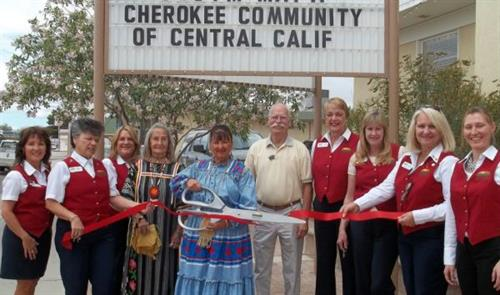 Ridgecrest Chamber Ambassadors & Mayor Dan Clark Welcome the Cherokee Community of Central California & Little Deer with a Ribbon Cutting