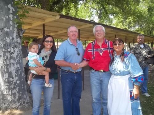 Robin Gleason, Granddaughter Teagon, Kern County 1st District Supervisor Mick Gleason, Cherokee Nation Principal Chief Bill John Baker, & Little Deer Durvin Ridgecrest Area Rep. for CCCC