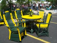 Packers colored Deacon's Gliders and table set