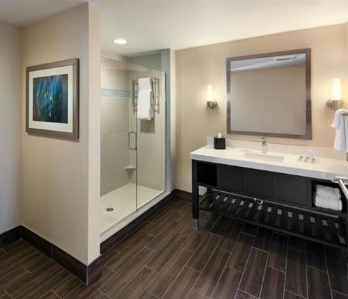King Bathroom with Hardwood Floors