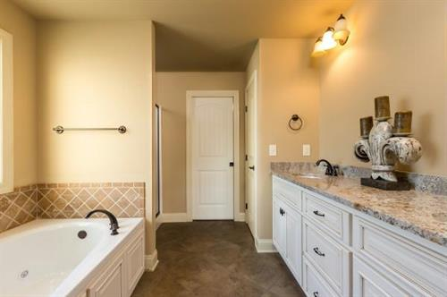 Master bath with garden tub, seperate shower, walk-in closet