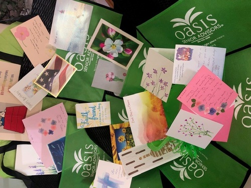 Thanks to the Oasis Senior Advisors RVA #volunteers from New Kent and Goochland we have our first bags of cards going to Senior Living communities! Message us your email if youâ??d like to help! #oasiscares #covid19