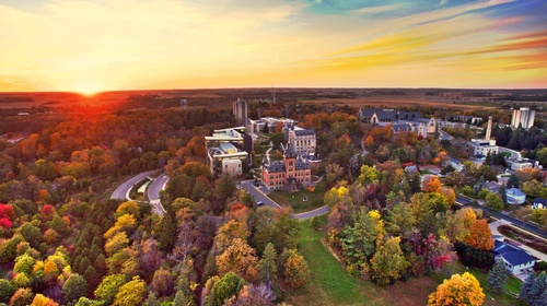 Ariel shot of the St. Olaf Campus