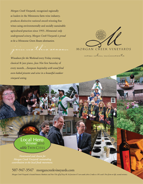 Morgan Creek Vineyards named 2010 LOCAL FOOD HERO by Edible Twin Cities - Best Artisan Beverage Producer