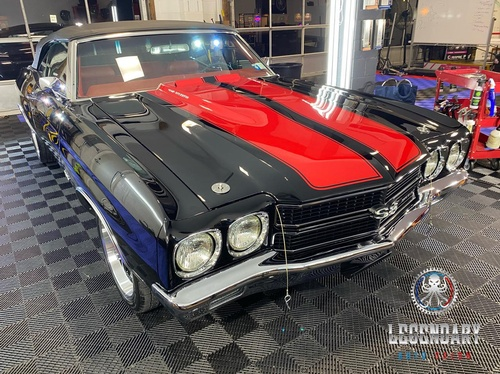 Black Chevrolet Chevelle SS with red stripes