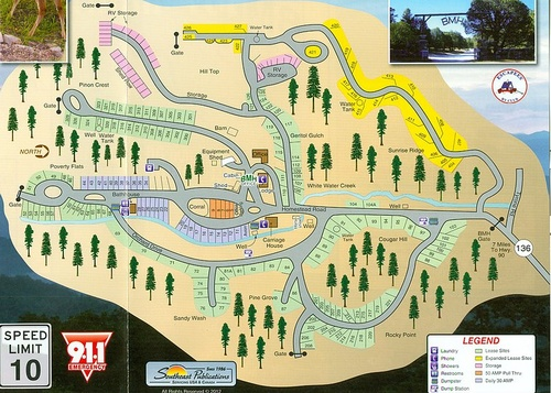 Map of Burro Mountain Homestead RV Park