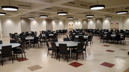 The large event room is great for banquets, dances, and fundraising events
