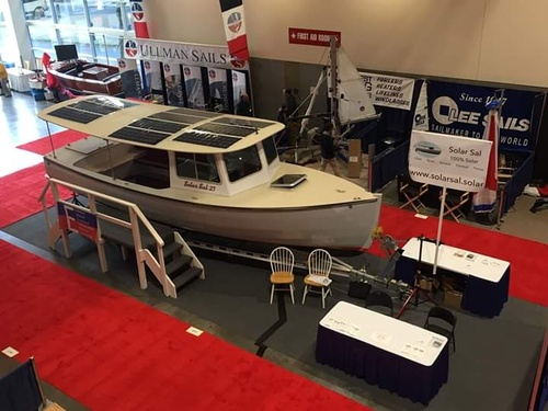 The Solar Sal 27 on display at the Seattle Boat Show, January 2019