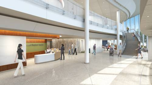 Rendering of future, modernized hospital lobby.