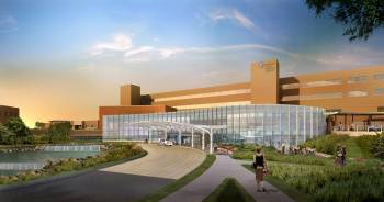 Rendering of future, modernized hospital front entrance.