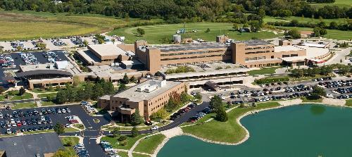 Aerial shot of Advocate Good Shepherd Hospital.