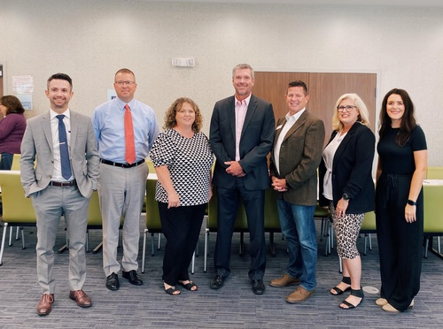 Chamber Luncheon - State of the Schools. Cody Barton - Farmers Insurance, Chris Reynolds - Washington Superintendent, Kathy Keeler - Lexington Elementary Principal, Toby Ringwald - Wayne Superintendent, Mike Eubank - Mid-America Superintendent and Dr. Sheli McAdoo - Purcell Superintendent and Elisabeth Baker - Chamber Executive Director.