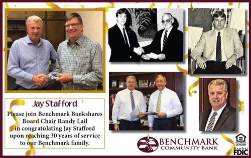Jay Stafford, 30 years of service with Benchmark Community Bank