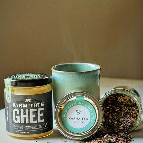 Kapha tea blend and our traditional ghee to support the cleansing process of Spring!