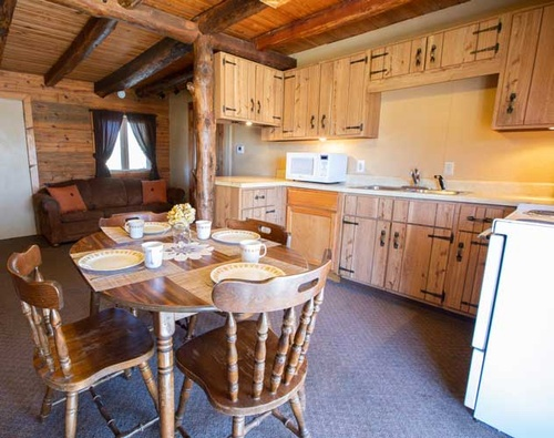 Two Story Log House Kitchen