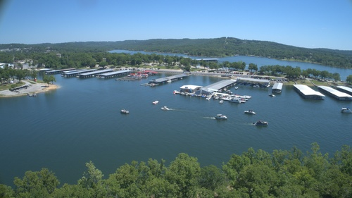 Drone shot of the gas dock at Port Of Kimberling Marina