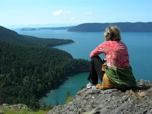 Enjoying one of the most scenic vistas in the San Juan Islands, Eagle Bluff, on Cypress Island.
