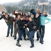 Snow camp (''Hotdoggin''') group pic