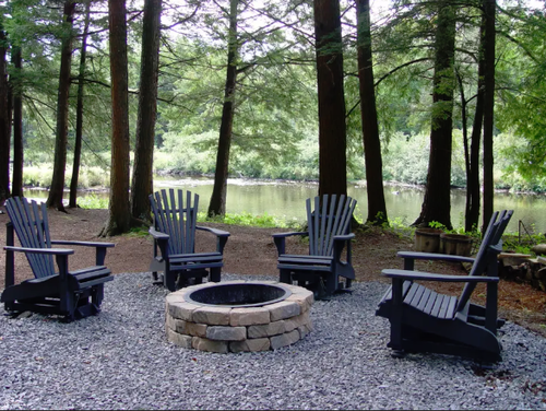 enjoy a campfire along the river