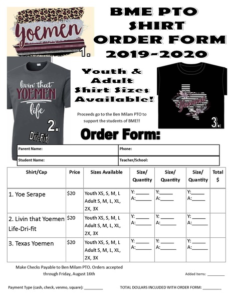 Ben Milam Elementary PTO will be selling school spirit shirts! You may purchase your shirt at the BME Meet the Teacher Night at the BME library from 5:00-6:00 p.m. on Friday, August 9th. You may also order shirts at Cameron Farm &  Ranch. Last day to order is August 16th; cash, cards, and Venmo will be accepted.