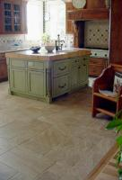 A beautiful cobblestone look for an inviting kitchen.