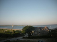 Chatham Harbor and the outer beach (late afternoon view from Pink Room)