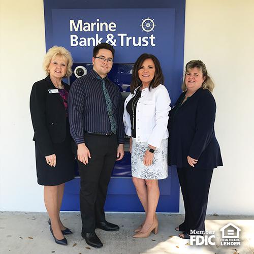 Marine Bank's Sebastian team of Georgia Irish, Yonny Perez, Christy Hilburn, and Pat Staunton are ready to serve you.