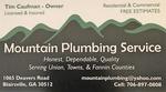 Mountain Plumbing Service