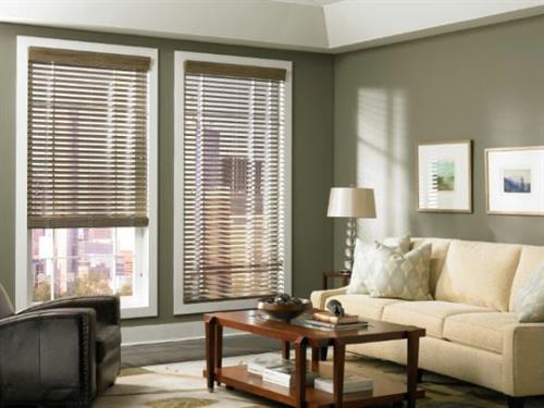 Eco-friendly Wood blinds are made of 100% North American fine hardwood and add richness, warmth and versatility making them the perfect addition for both traditional and contemporary styles.
