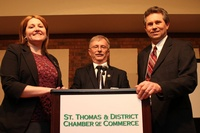 St. Thomas Mayor Heather Jackson, Central Elgin Mayor Dave Marr and Southwold Mayor Grant Jones