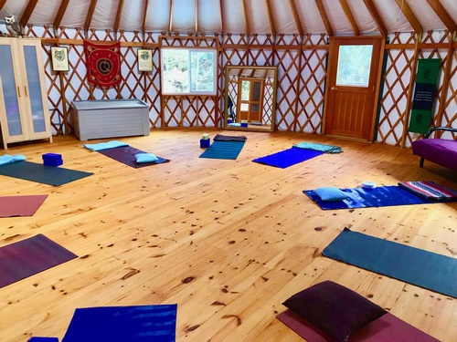 The yurt is fabulous for stretching, yoga, and meditation.