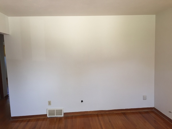 After: Living Room Wall with Nicotine Stains Cleaned Off