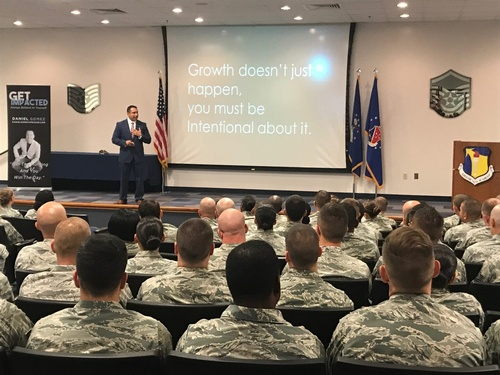 Daniel speaking to U.S. Troops