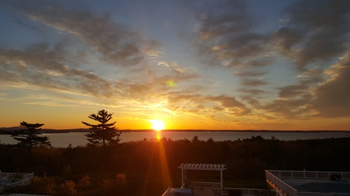 View of sunrise from the Acadia Ocean View Motel