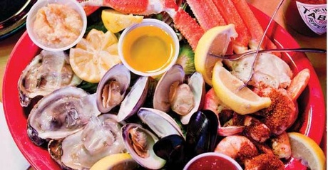 The Works - For those who want to try a little of everything.  3 oysters, 3 clams, 3 mussels, & 1/4 shrimp
