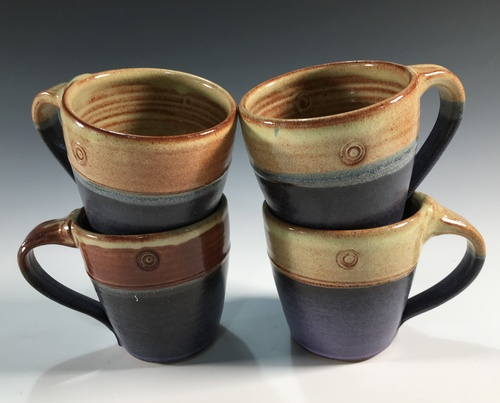 Two tone mugs, purple and shino glazes