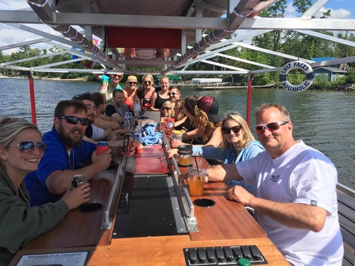 Family and friends enjoying Loon Cruise