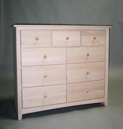 Unfinished Maple Shaker 9 Drawer Dresser - 4 Deep Drawers 21209-4D
