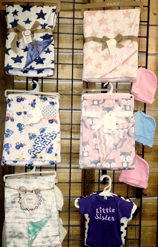 Baby blankets & apparel available at J&S Logos & Embroidery
