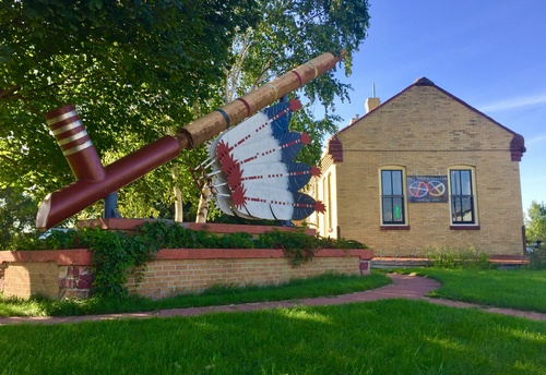 World's Largest Ceremonial Pipe & Historic Rock Island Depot (Keepers' Gift Shop) (photo by Erica Volkir)