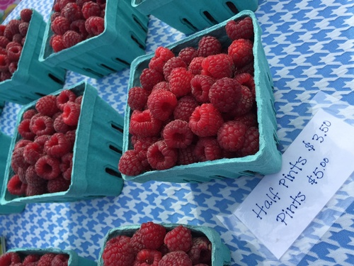 Raspberries at Pipestone Farmers Market - Photo by Erica Volkir