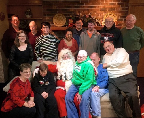 Hiawatha Manor Christmas Party - Kiwanis Volunteers, Residents, & Santa