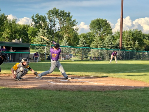 Luke Tinklenberg drives the ball for the Pipestone A's 2020 (photo by Erica Volkir)